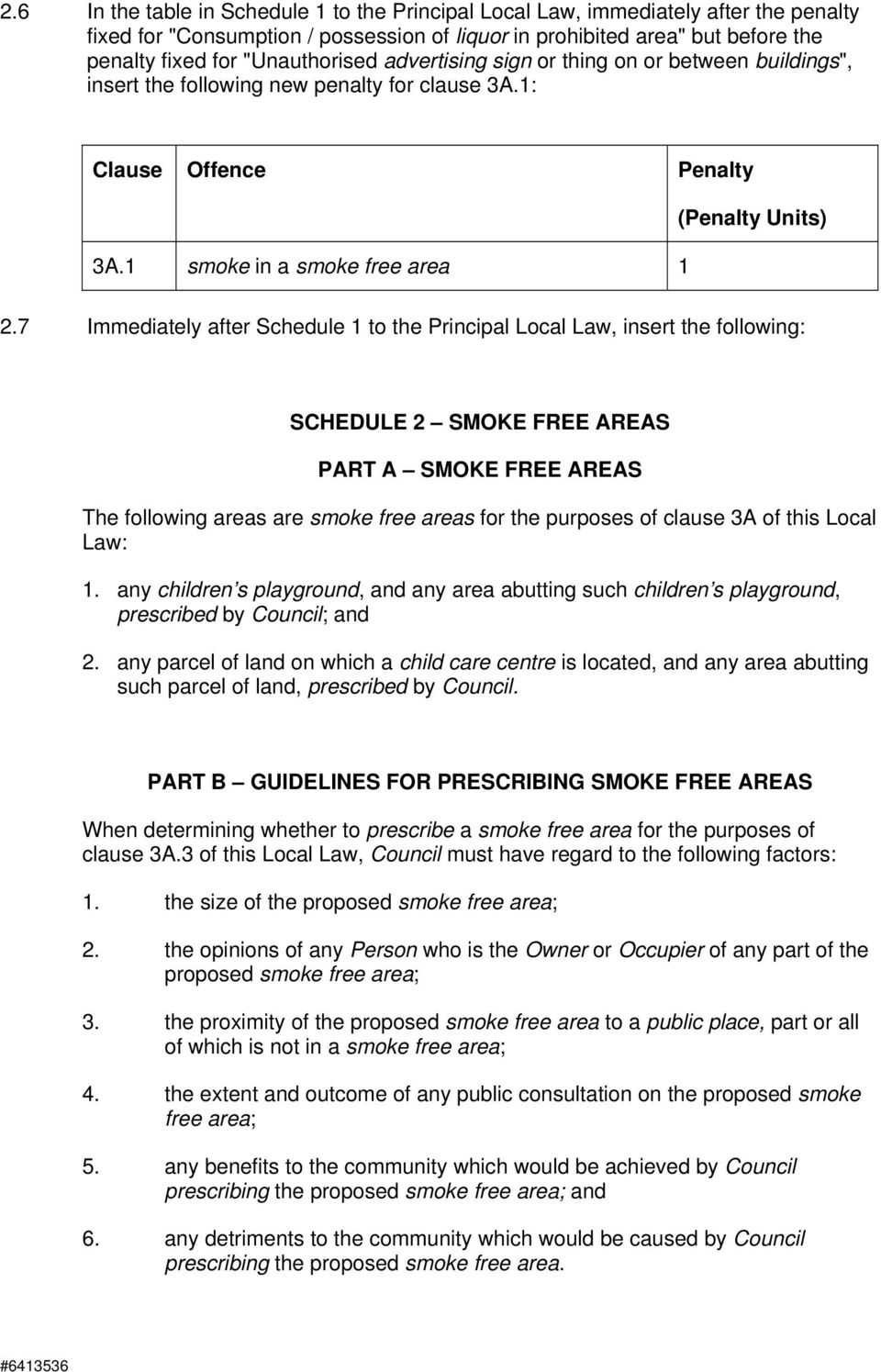 7 Immediately after Schedule 1 to the Principal Local Law, insert the following: SCHEDULE 2 SMOKE FREE AREAS PART A SMOKE FREE AREAS The following areas are smoke free areas for the purposes of