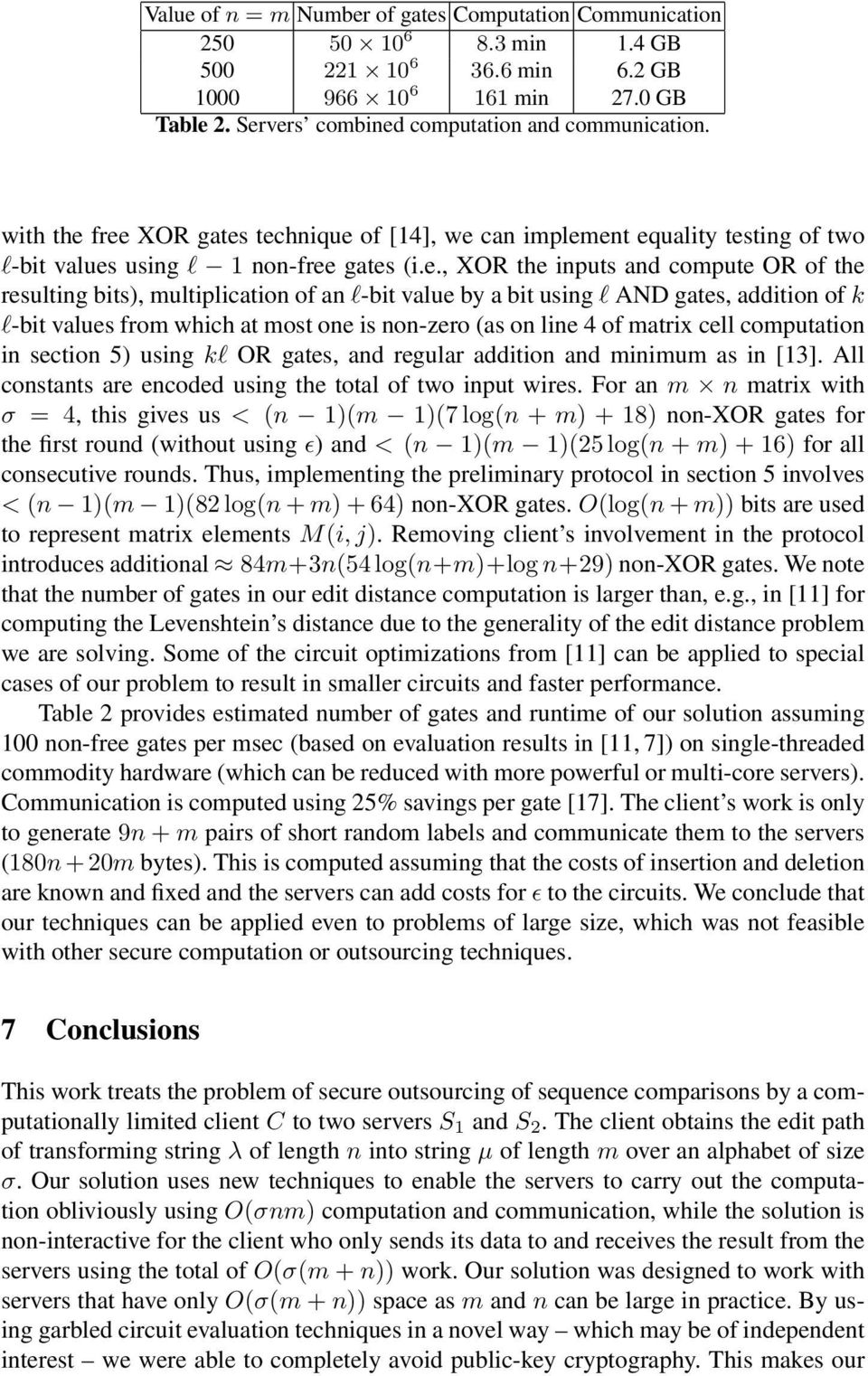 free XOR gates technique of [14], we can implement equality testing of two l-bit values using l 1 non-free gates (i.e., XOR the inputs and compute OR of the resulting bits), multiplication of an
