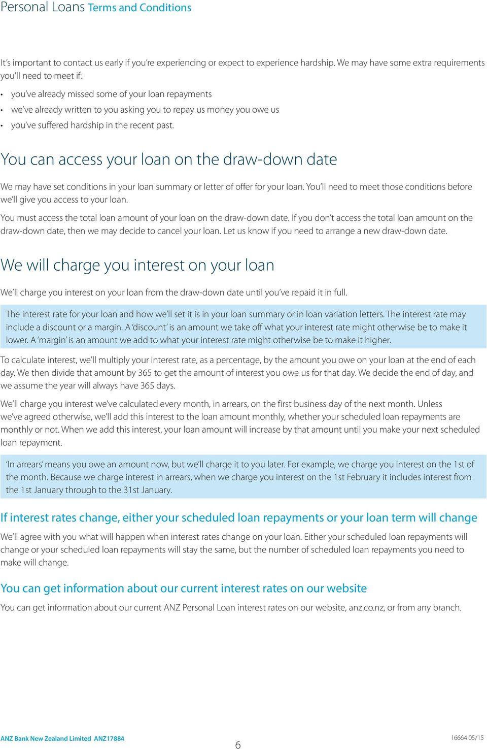 hardship in the recent past. You can access your loan on the draw-down date We may have set conditions in your loan summary or letter of offer for your loan.