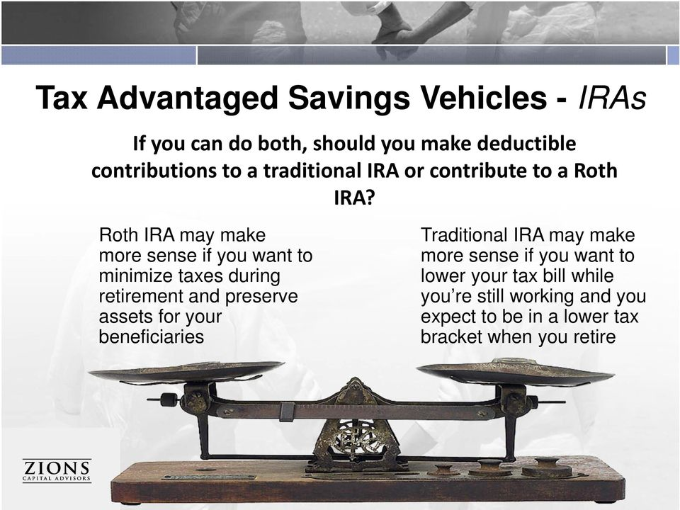 Roth IRA may make more sense if you want to minimize taxes during retirement and preserve assets for your