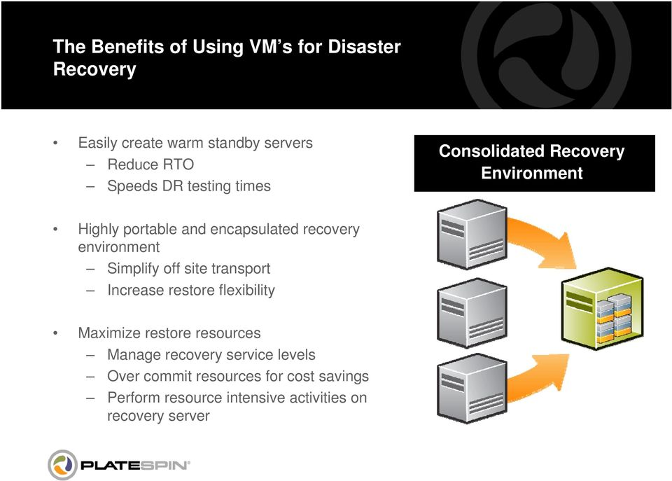 Simplify off site transport Increase restore flexibility Maximize restore resources Manage recovery