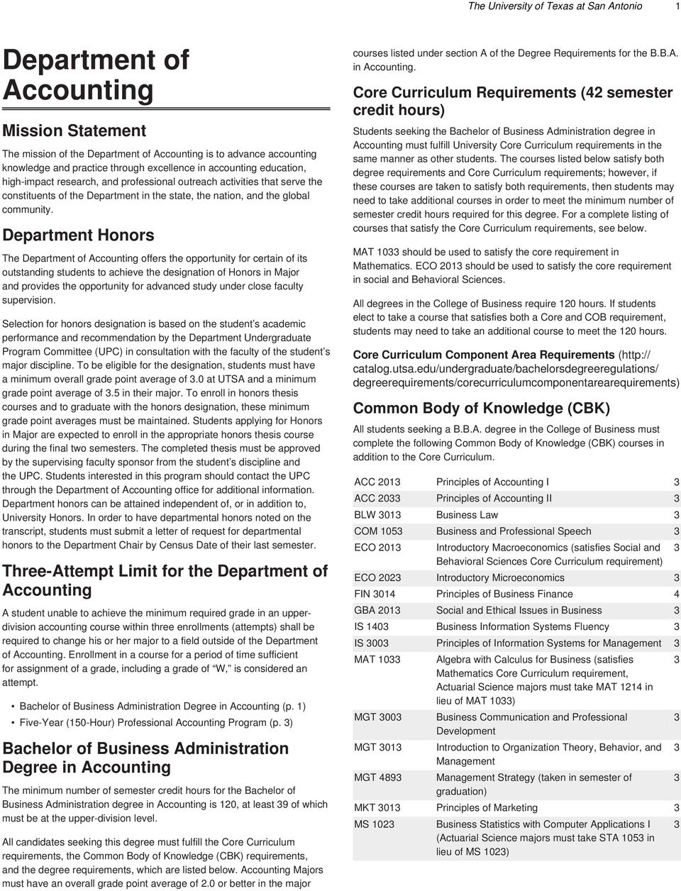Department Honors The Department of offers the opportunity for certain of its outstanding students to achieve the designation of Honors in Major and provides the opportunity for advanced study under