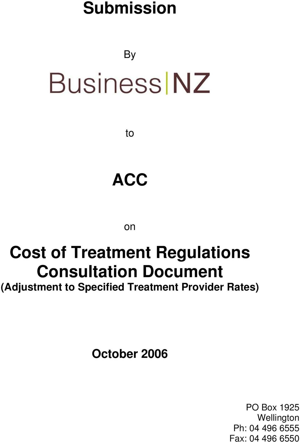 Specified Treatment Provider Rates) October 2006