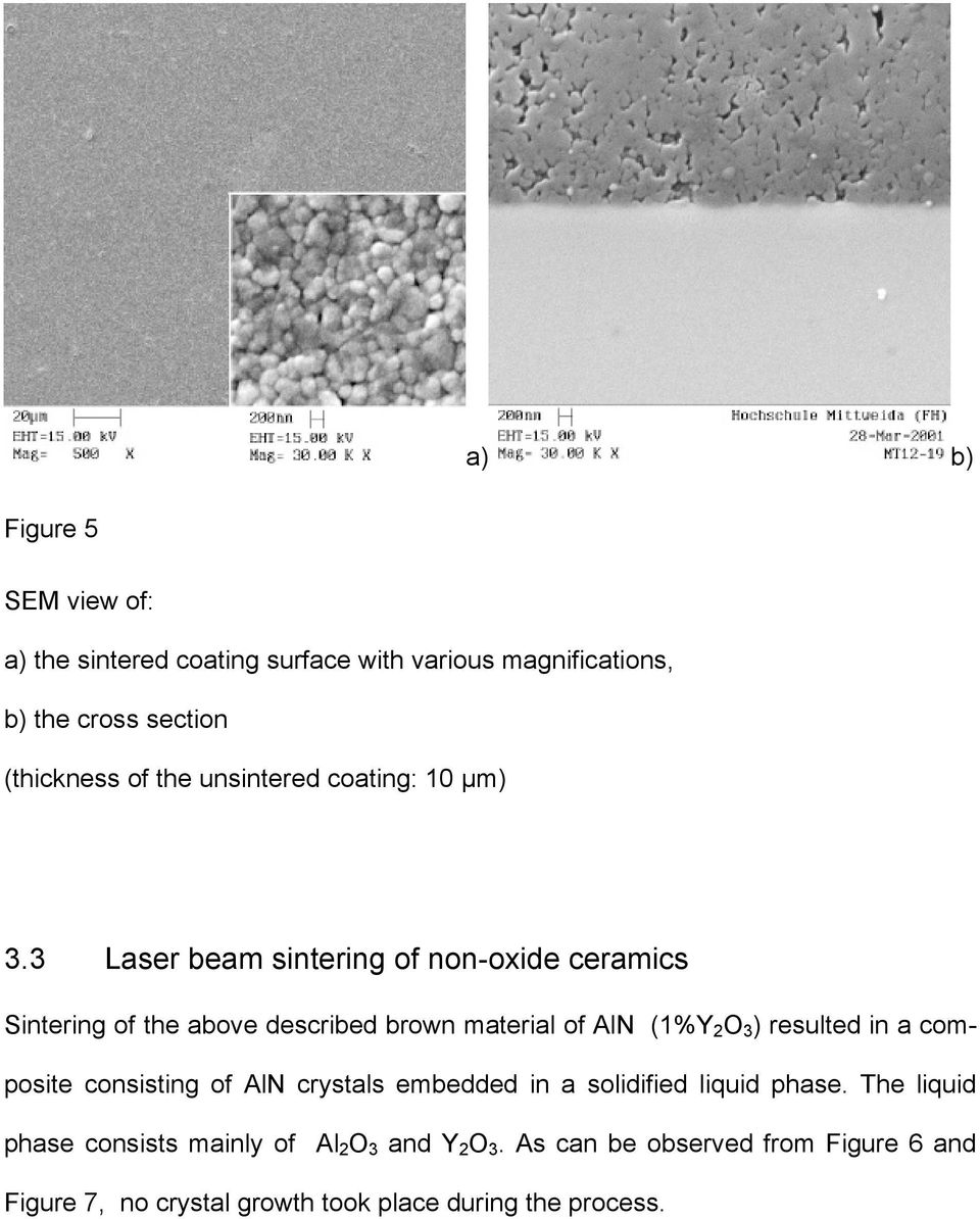 3 Laser beam sintering of non-oxide ceramics Sintering of the above described brown material of AlN (1%Y 2 O 3 ) resulted in a