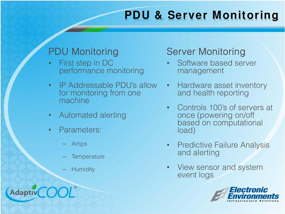 based server management Hardware asset inventory and health reporting Controls 100 s of servers at once