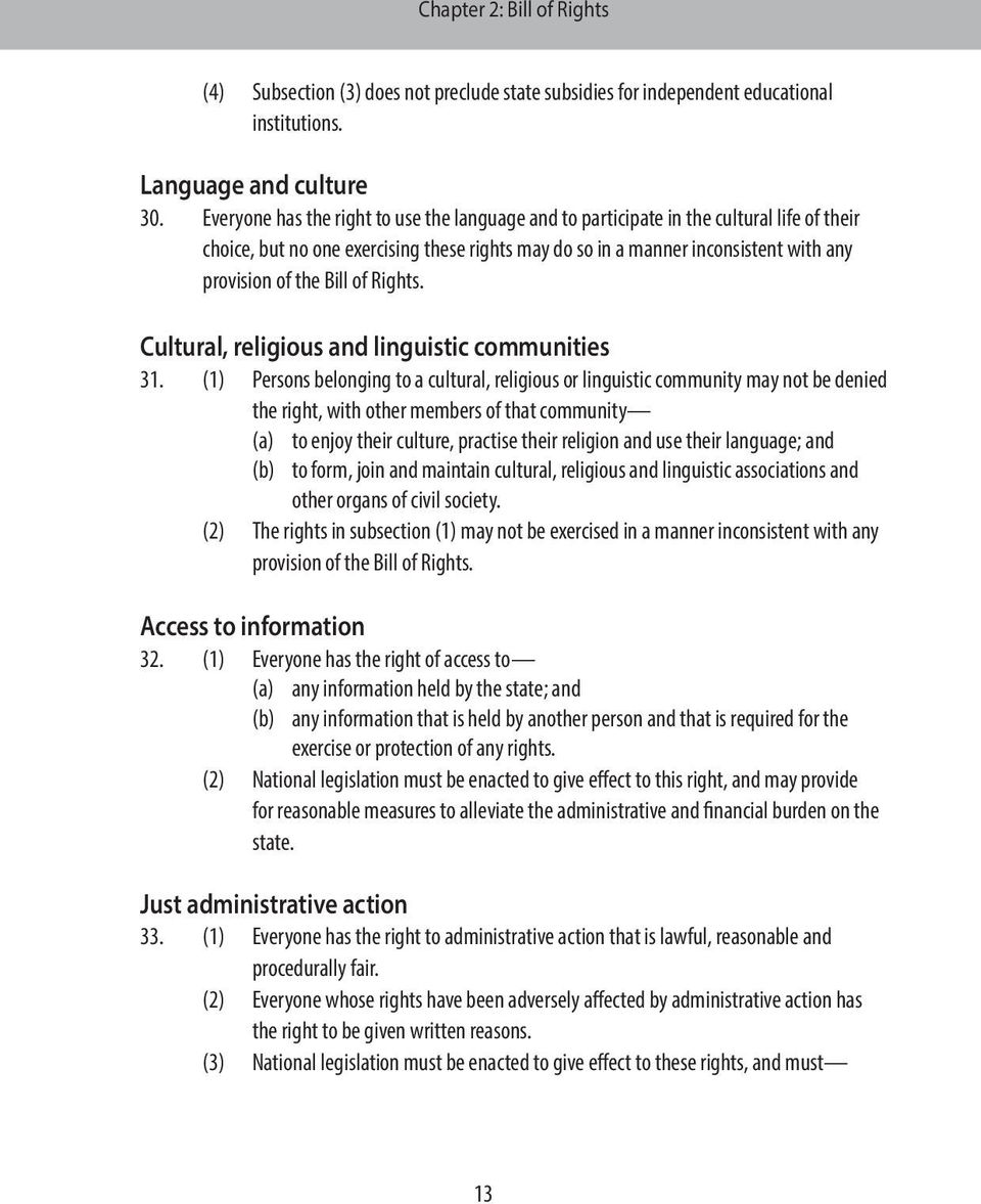 Bill of Rights. Cultural, religious and linguistic communities 31.