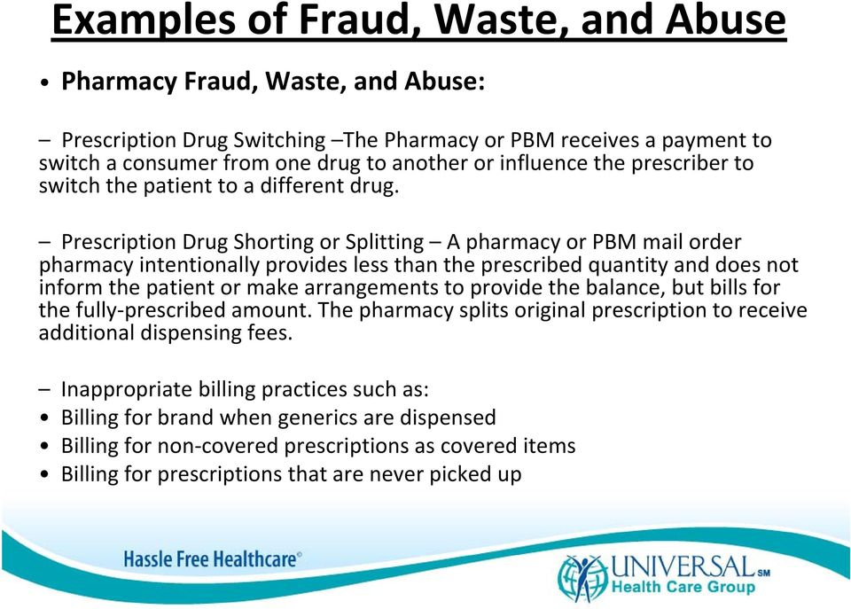 Prescription Drug Shorting or Splitting A pharmacy or PBM mail order pharmacy intentionally provides less than the prescribed quantity and does not inform the patient or make arrangements to