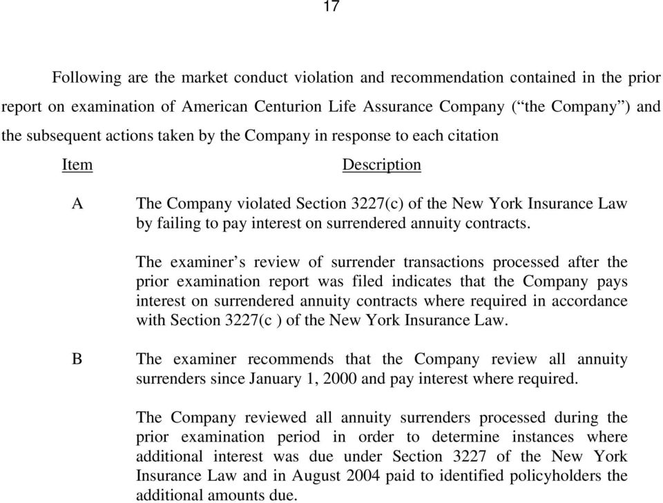 The examiner s review of surrender transactions processed after the prior examination report was filed indicates that the Company pays interest on surrendered annuity contracts where required in