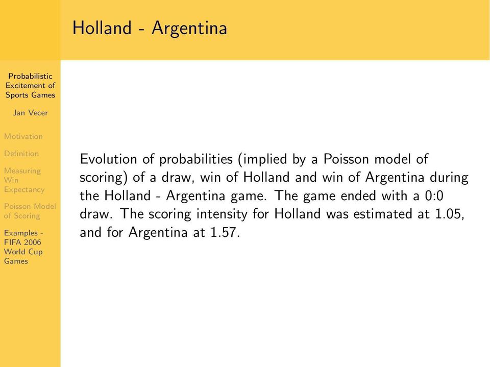 during the Holland - Argentina game. The game ended with a 0:0 draw.