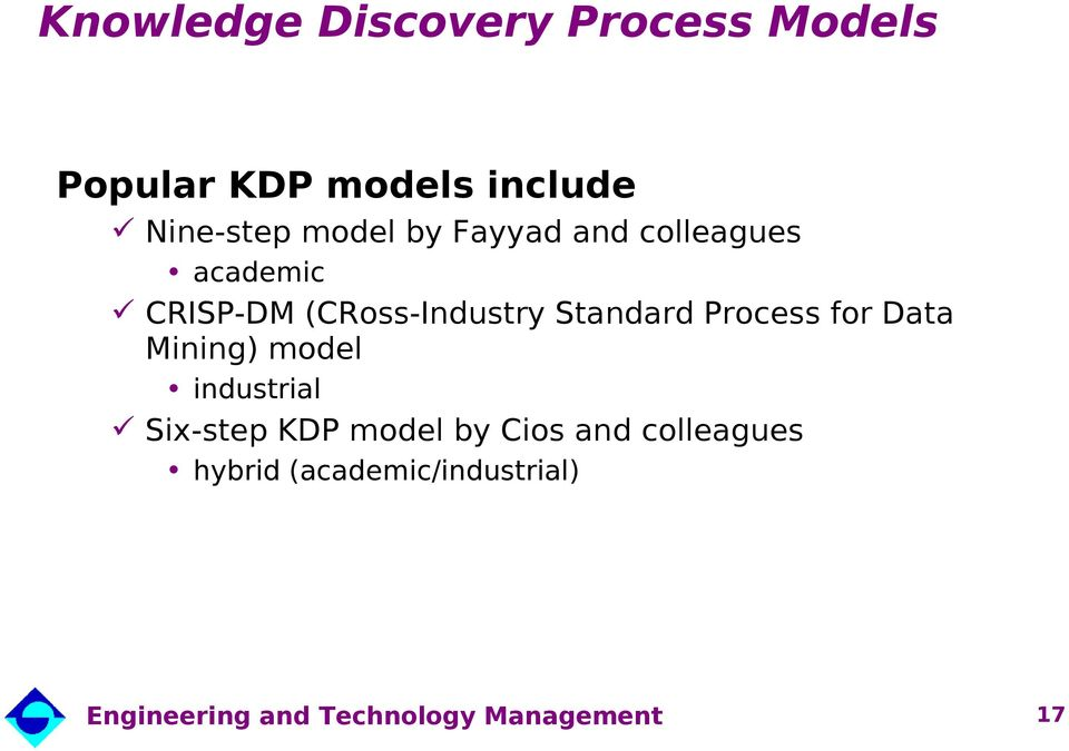 (CRoss-Industry Standard Process for Data Mining) model