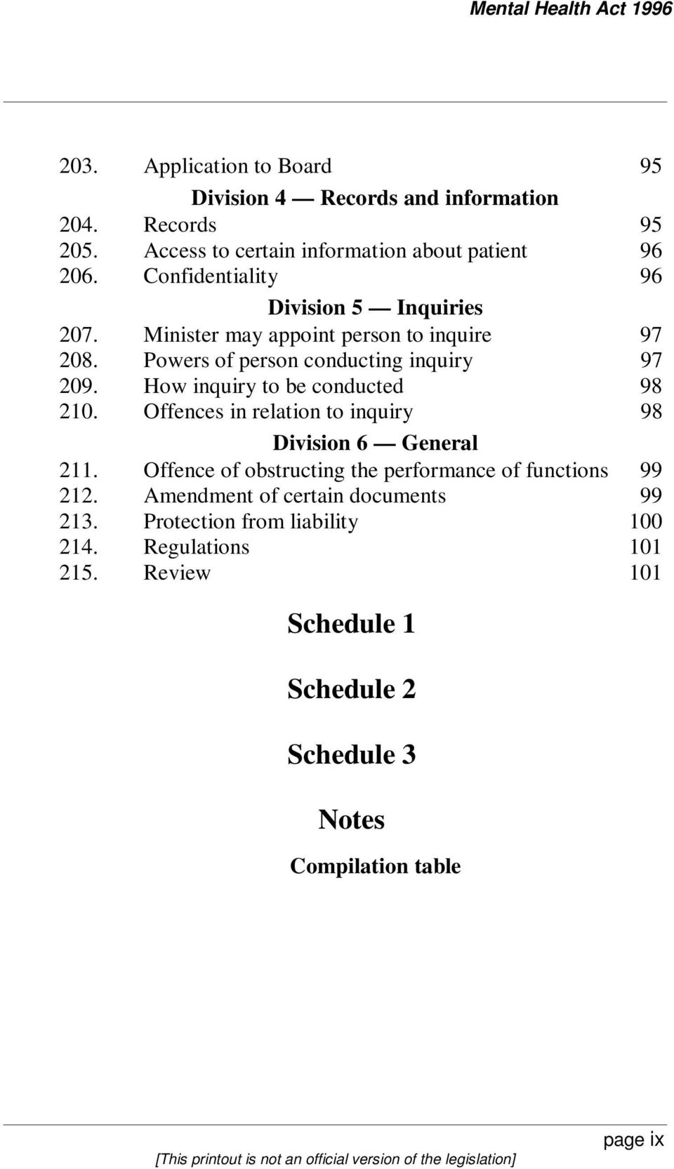 How inquiry to be conducted 98 210. Offences in relation to inquiry 98 Division 6 General 211.
