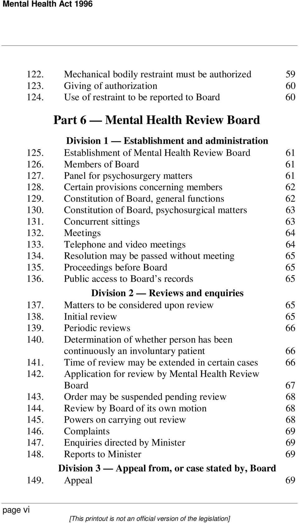 Members of Board 61 127. Panel for psychosurgery matters 61 128. Certain provisions concerning members 62 129. Constitution of Board, general functions 62 130.