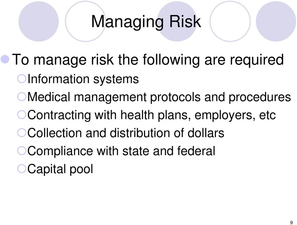 Contracting with health plans, employers, etc Collection and