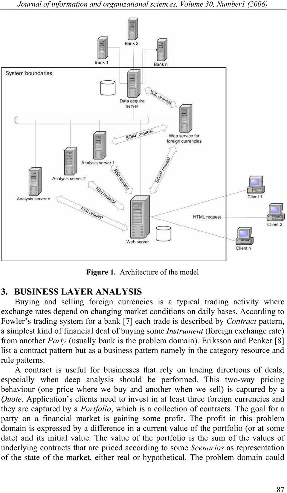 According to Fowler s trading system for a bank [7] each trade is described by Contract pattern, a simplest kind of financial deal of buying some Instrument (foreign exchange rate) from another Party