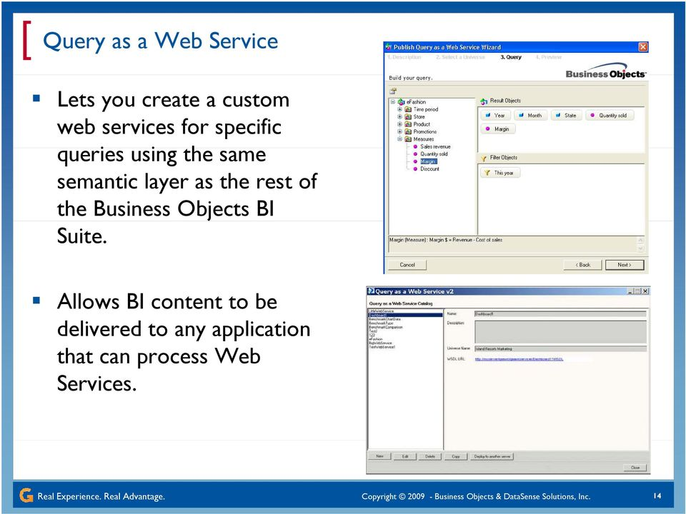 Allows BI content to be delivered to any application that can process Web Services.