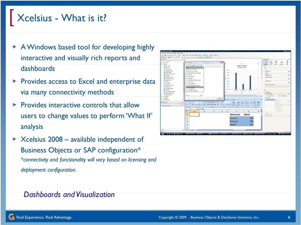 many connectivity methods Provides interactive controls that allow users to change values to perform What If analysis Xcelsius 2008 available