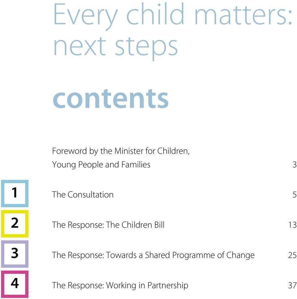 Consultation 5 The Response: The Children Bill 13 The Response: