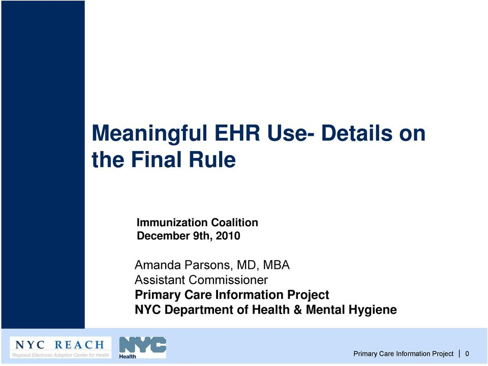 Assistant Commissioner Primary Care Information Project NYC