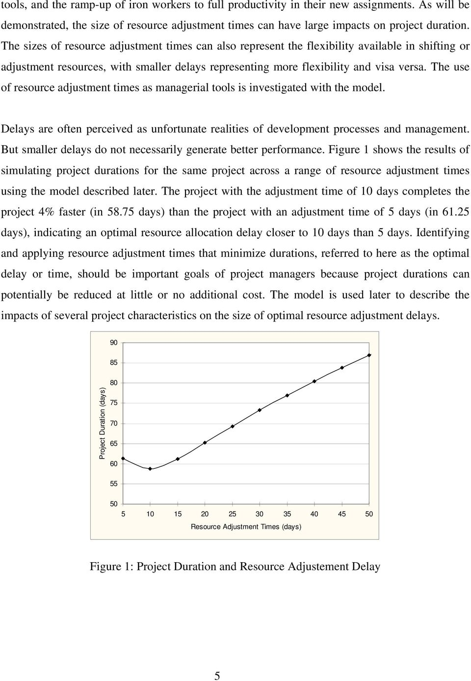 The use of resource adjustment times as managerial tools is investigated with the model. Delays are often perceived as unfortunate realities of development processes and management.
