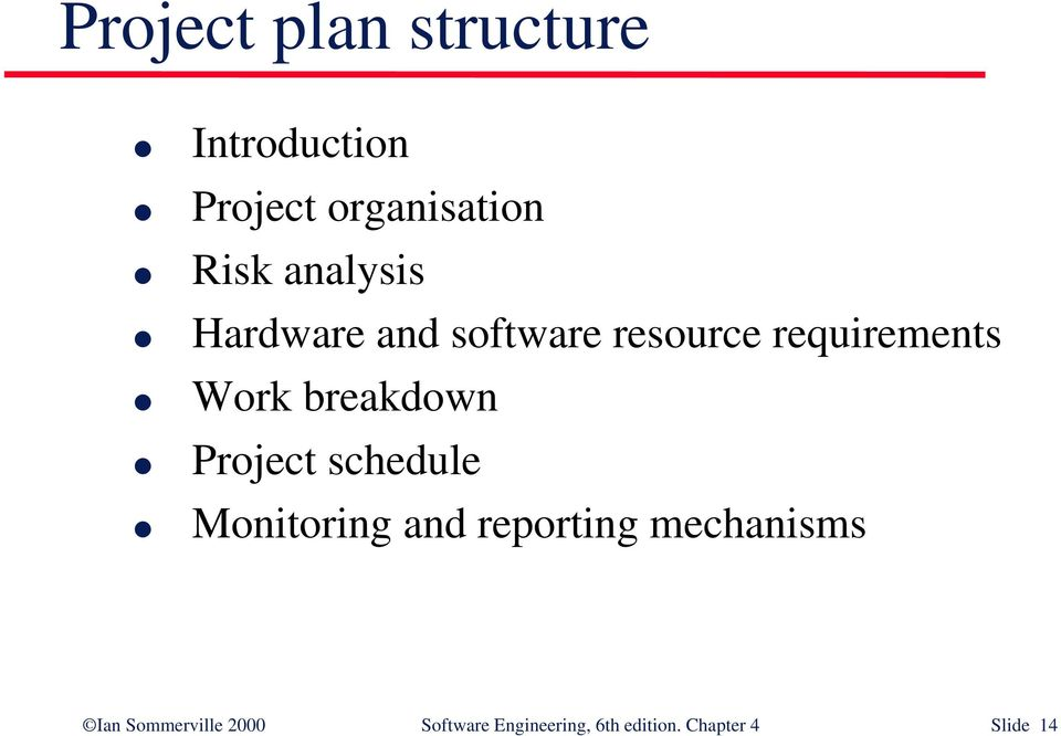breakdown Project schedule Monitoring and reporting mechanisms