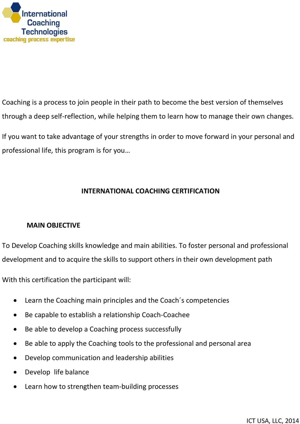 Coaching skills knowledge and main abilities.