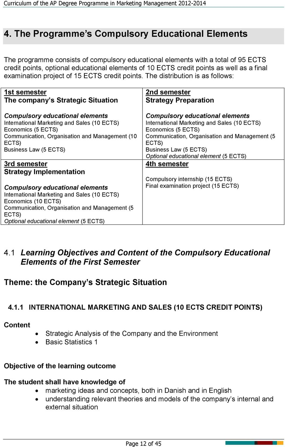 The distribution is as follows: 1st semester The company s Strategic Situation Compulsory educational elements International Marketing and Sales (10 ECTS) Economics (5 ECTS) Communication,