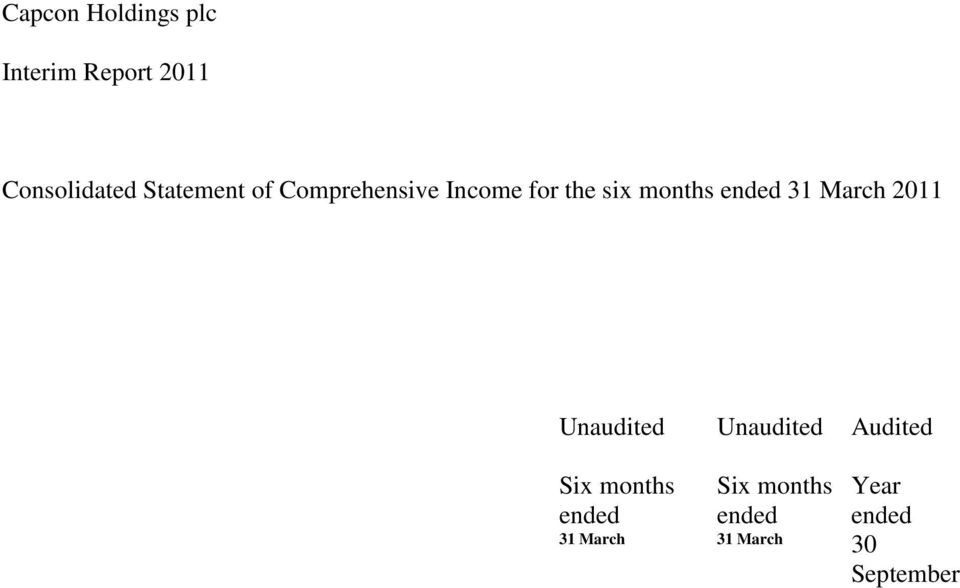 ended 31 March 2011 Unaudited Unaudited Audited Six