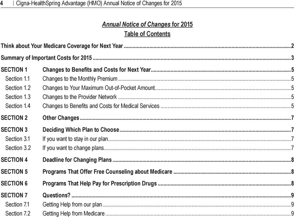..5 Section 1.3 Changes to the Provider Network...5 Section 1.4 Changes to Benefits and Costs for Medical Services...5 SECTION 2 Other Changes...7 SECTION 3 Deciding Which Plan to Choose...7 Section 3.