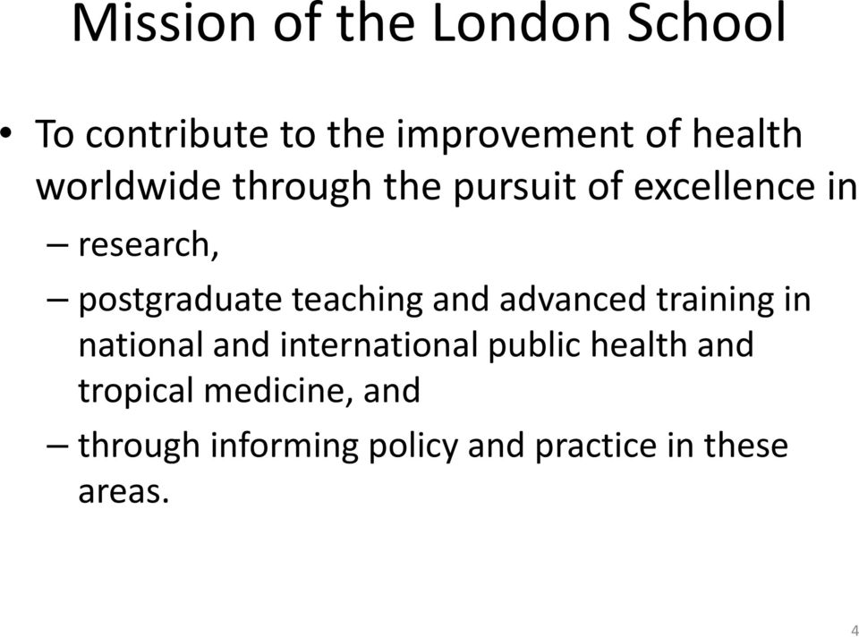 teaching and advanced training in national and international public health