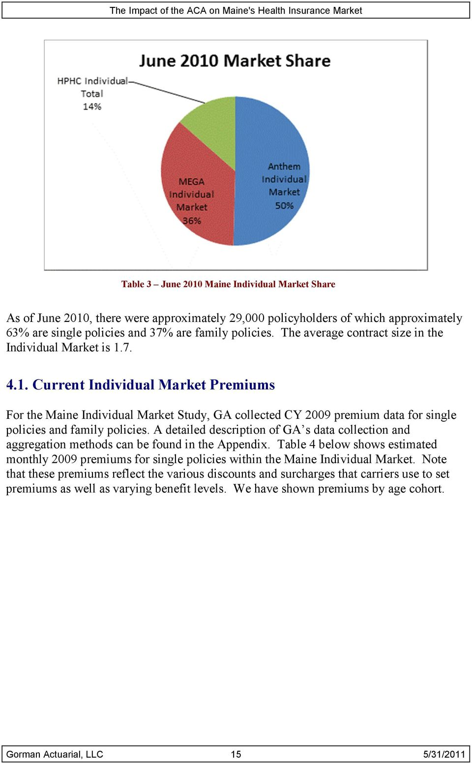 7. 4.1. Current Individual Market Premiums For the Maine Individual Market Study, GA collected CY 2009 premium data for single policies and family policies.
