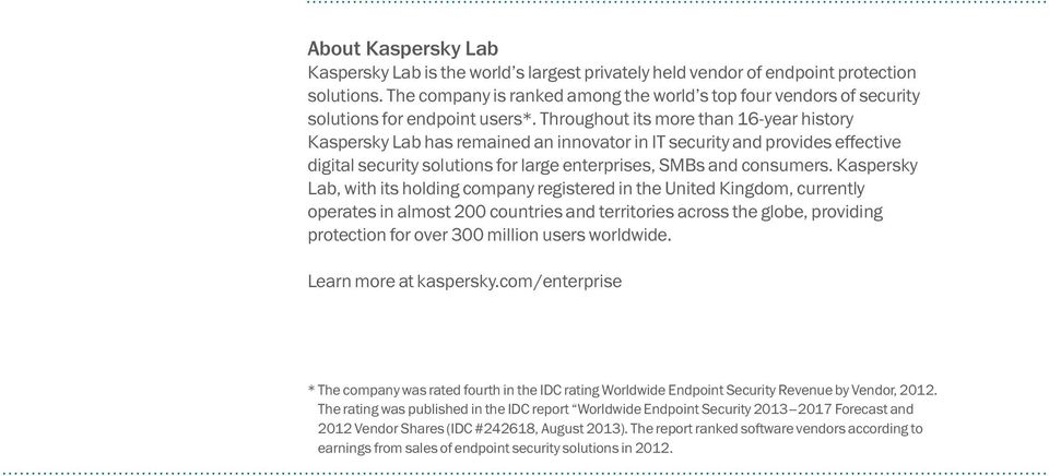 Throughout its more than 16-year history Kaspersky Lab has remained an innovator in IT security and provides effective digital security solutions for large enterprises, SMBs and consumers.