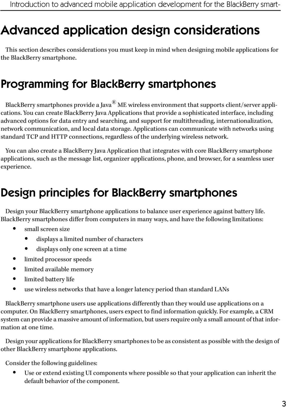 Advanced Java Application Development for the BlackBerry Smartphone