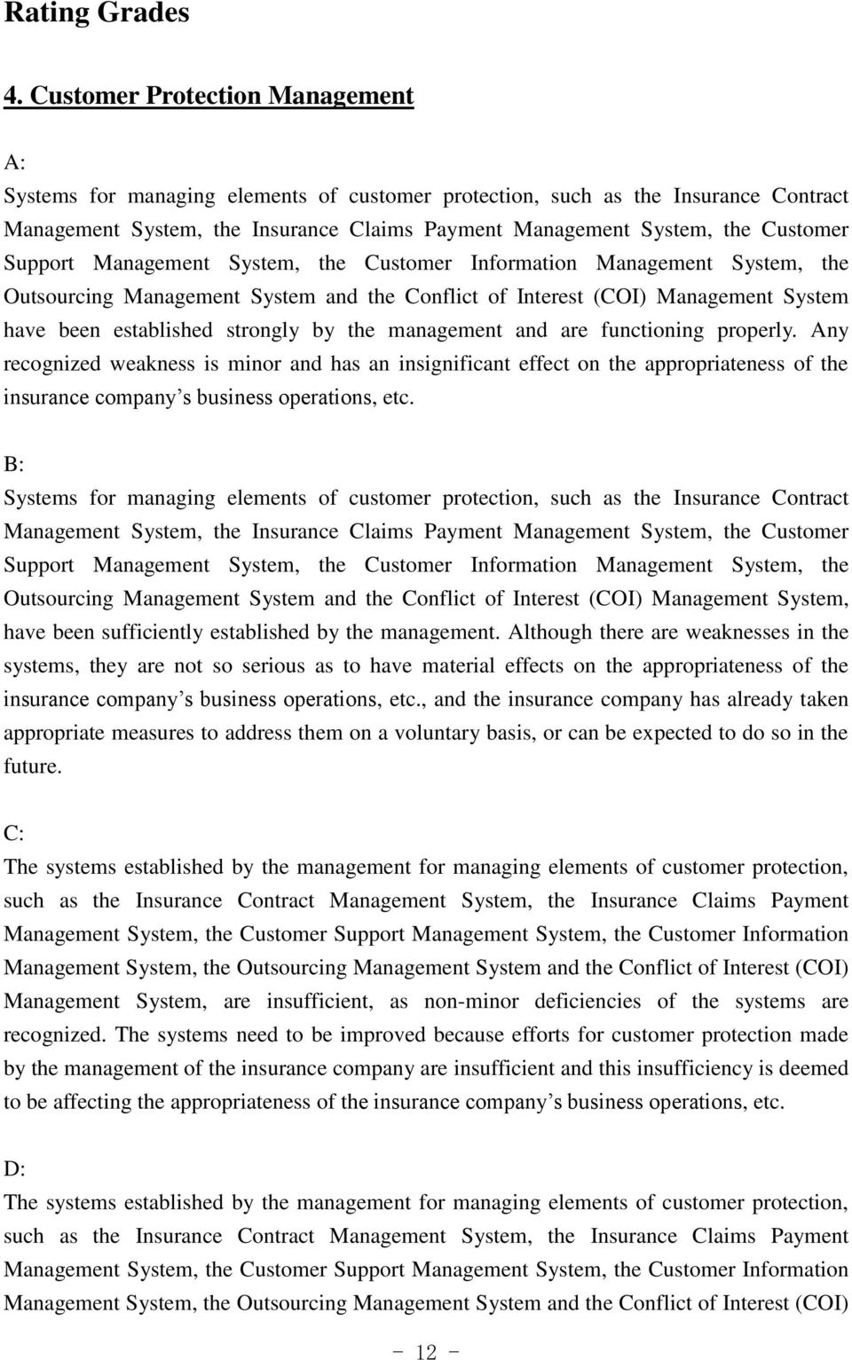 Support Management System, the Customer Information Management System, the Outsourcing Management System and the Conflict of Interest (COI) Management System have been established strongly by the