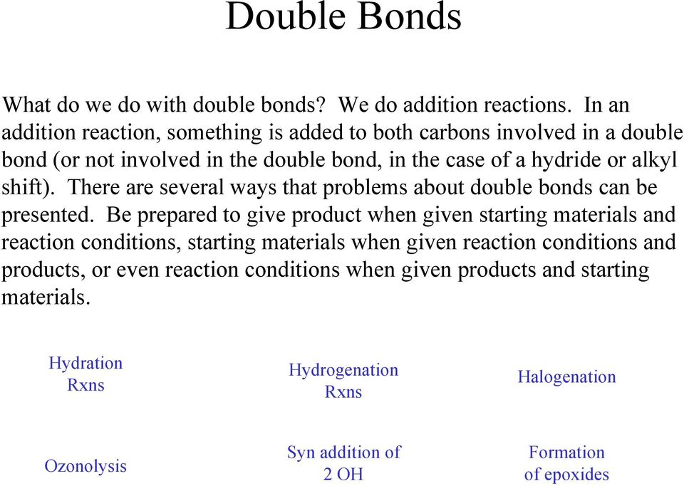 alkyl shift). There are several ways that problems about double bonds can be presented.