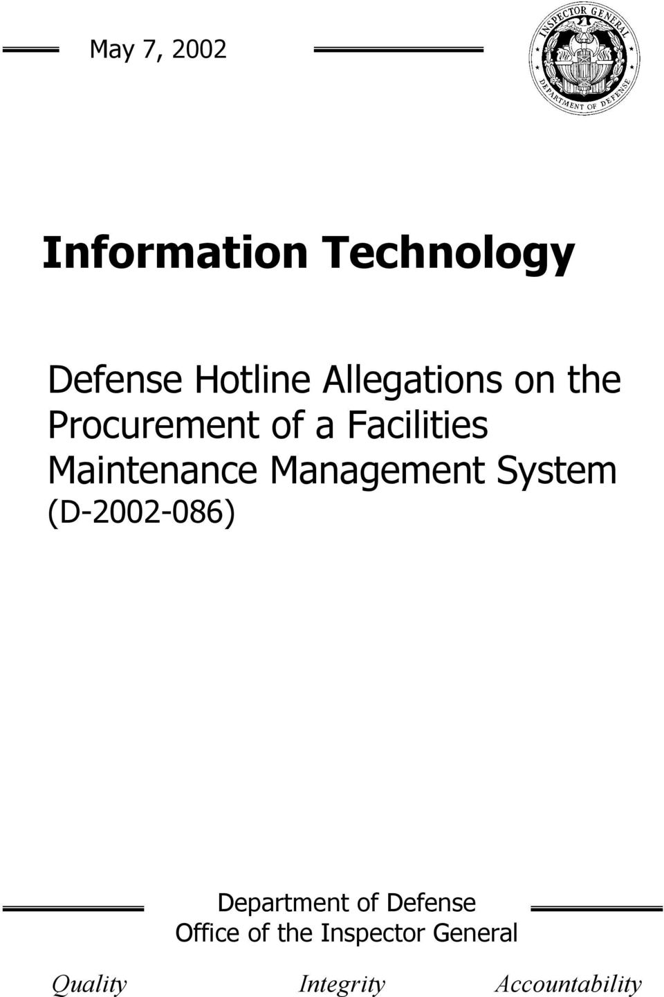Maintenance Management System (D-2002-086) Department of