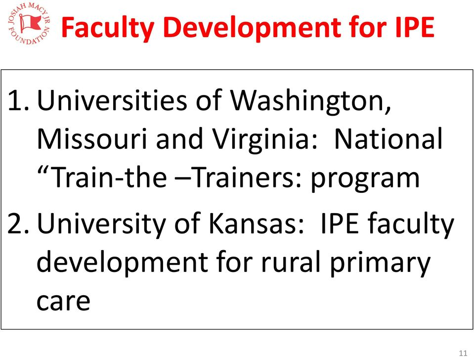 Virginia: National Train-the Trainers: program 2.