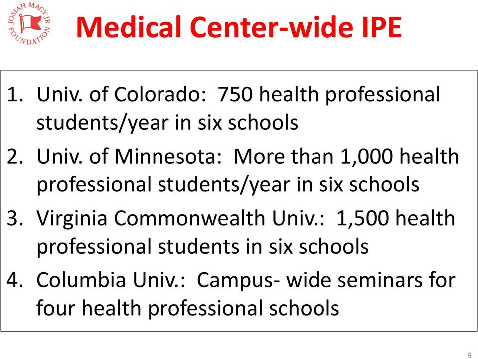 of Minnesota: More than 1,000 health professional students/year in six schools 3.