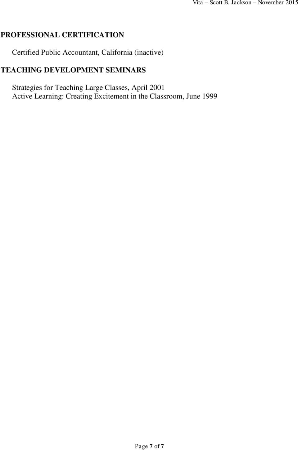 Strategies for Teaching Large Classes, April 2001 Active