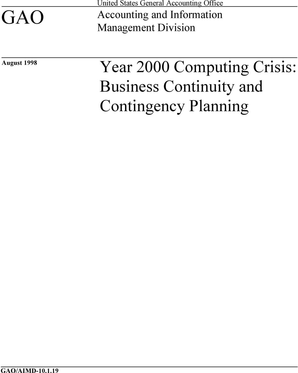 August 1998 Year 2000 Computing Crisis: