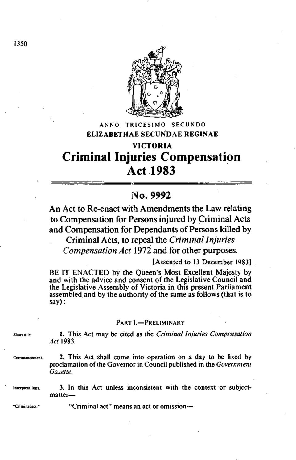 Criminal Injuries Compensation Act 1972 and for other purposes.