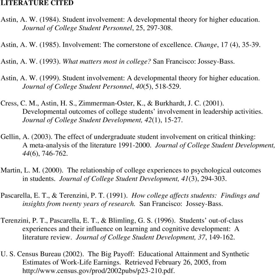 Student involvement: A developmental theory for higher education. Journal of College Student Personnel, 40(5), 518-529. Cress, C. M., Astin, H. S., Zimmerman-Oster, K., & Burkhardt, J. C. (2001).