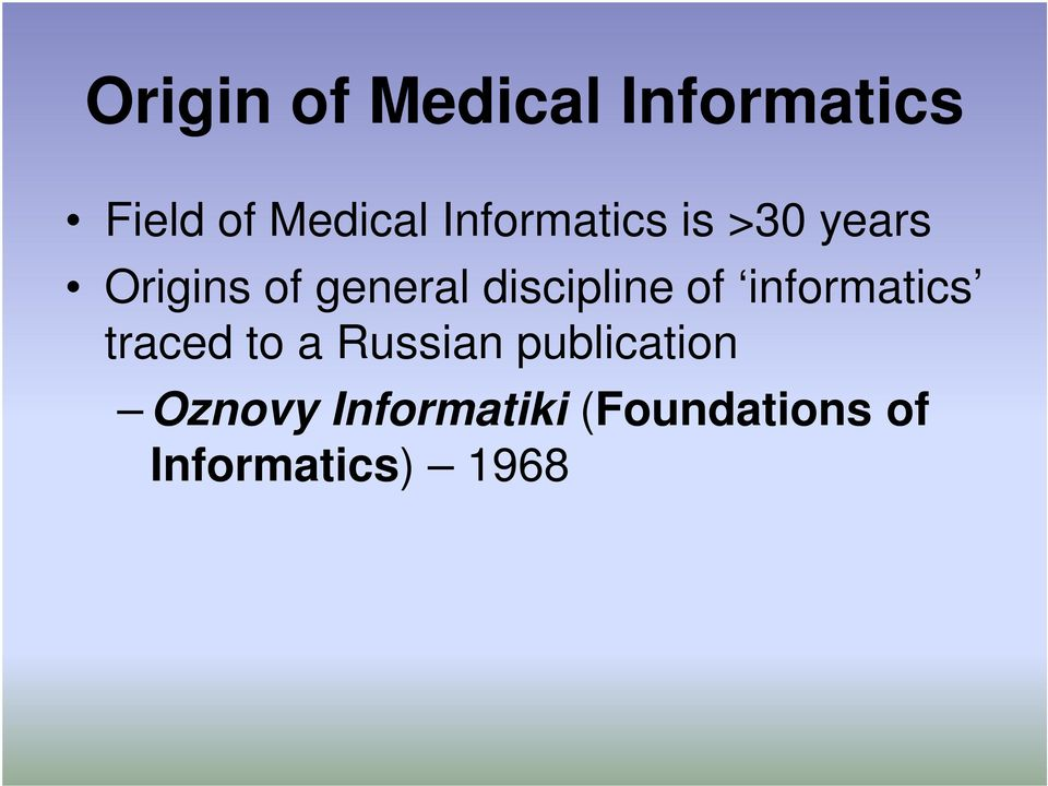 discipline of informatics traced to a Russian
