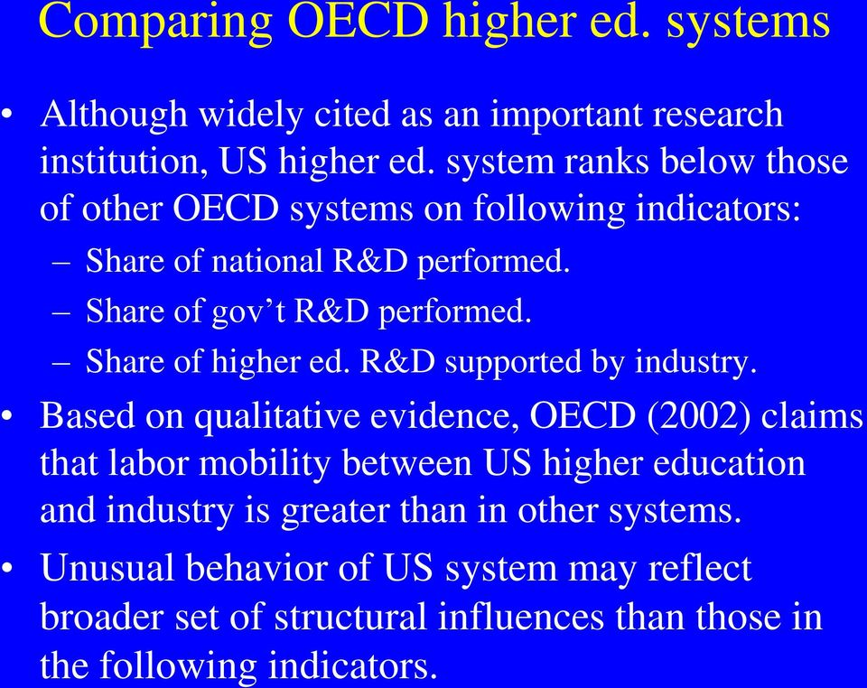 Share of higher ed. R&D supported by industry.