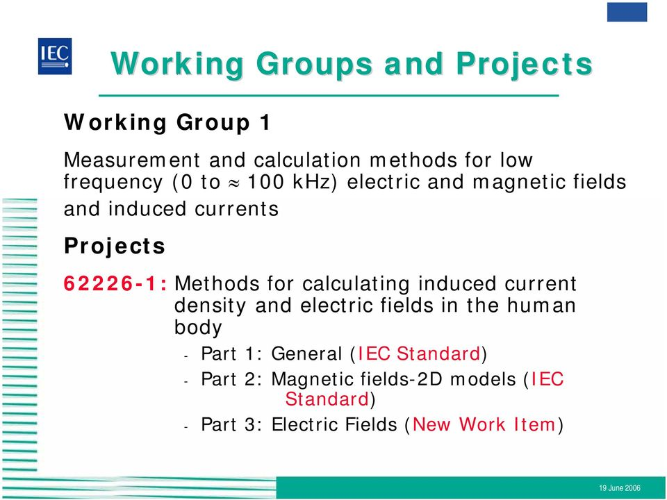 calculating induced current density and electric fields in the human body - Part 1: General (IEC