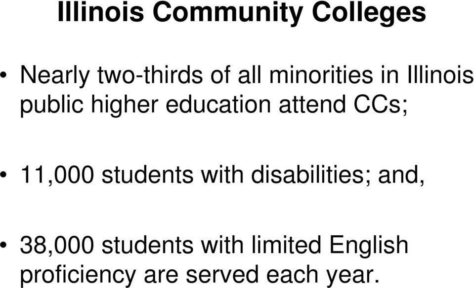 CCs; 11,000 students with disabilities; and, 38,000