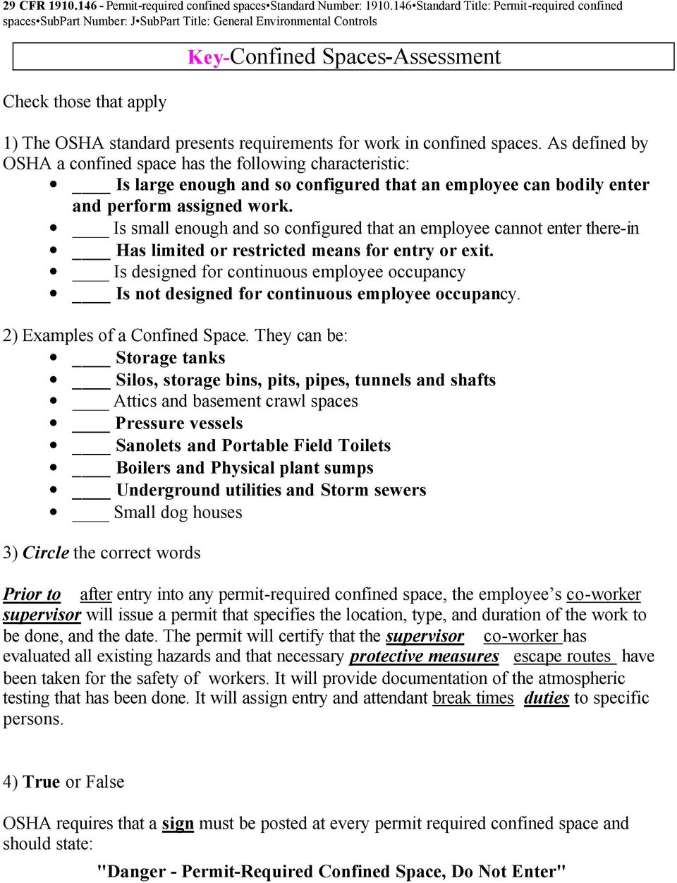 requirements for work in confined spaces.