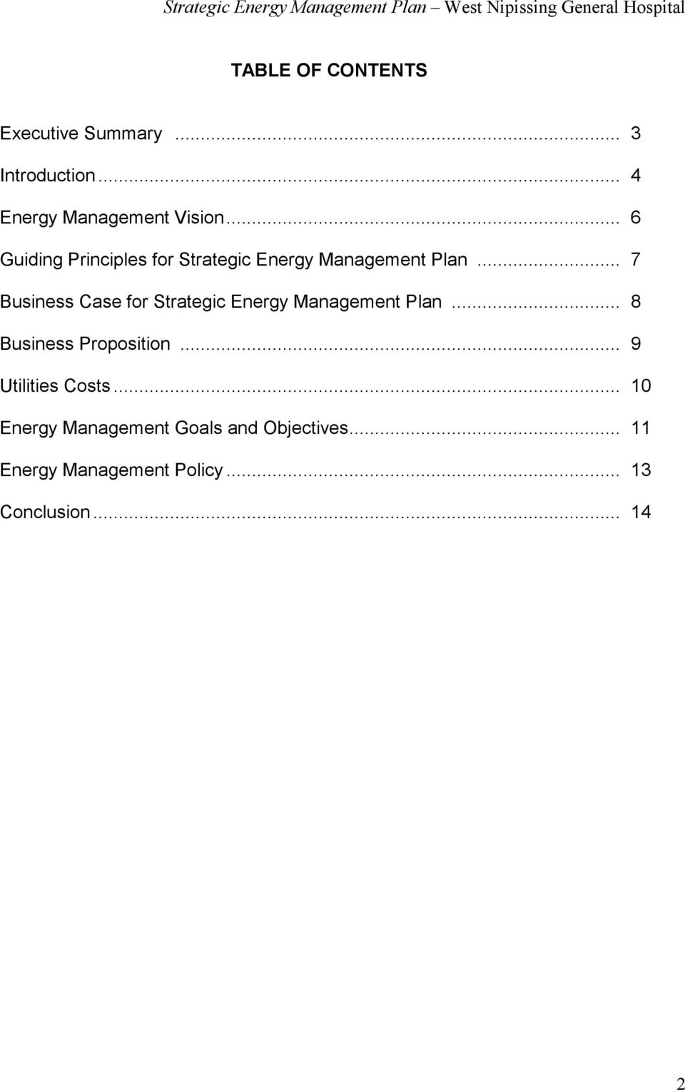 .. 7 Business Case for Strategic Energy Management Plan... 8 Business Proposition.