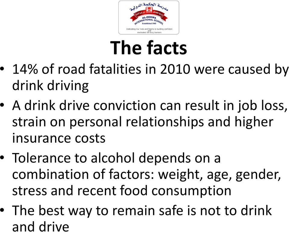 insurance costs Tolerance to alcohol depends on a combination of factors: weight, age,