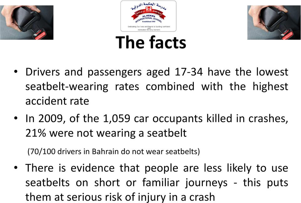 seatbelt (70/100 drivers in Bahrain do not wear seatbelts) There is evidence that people are less