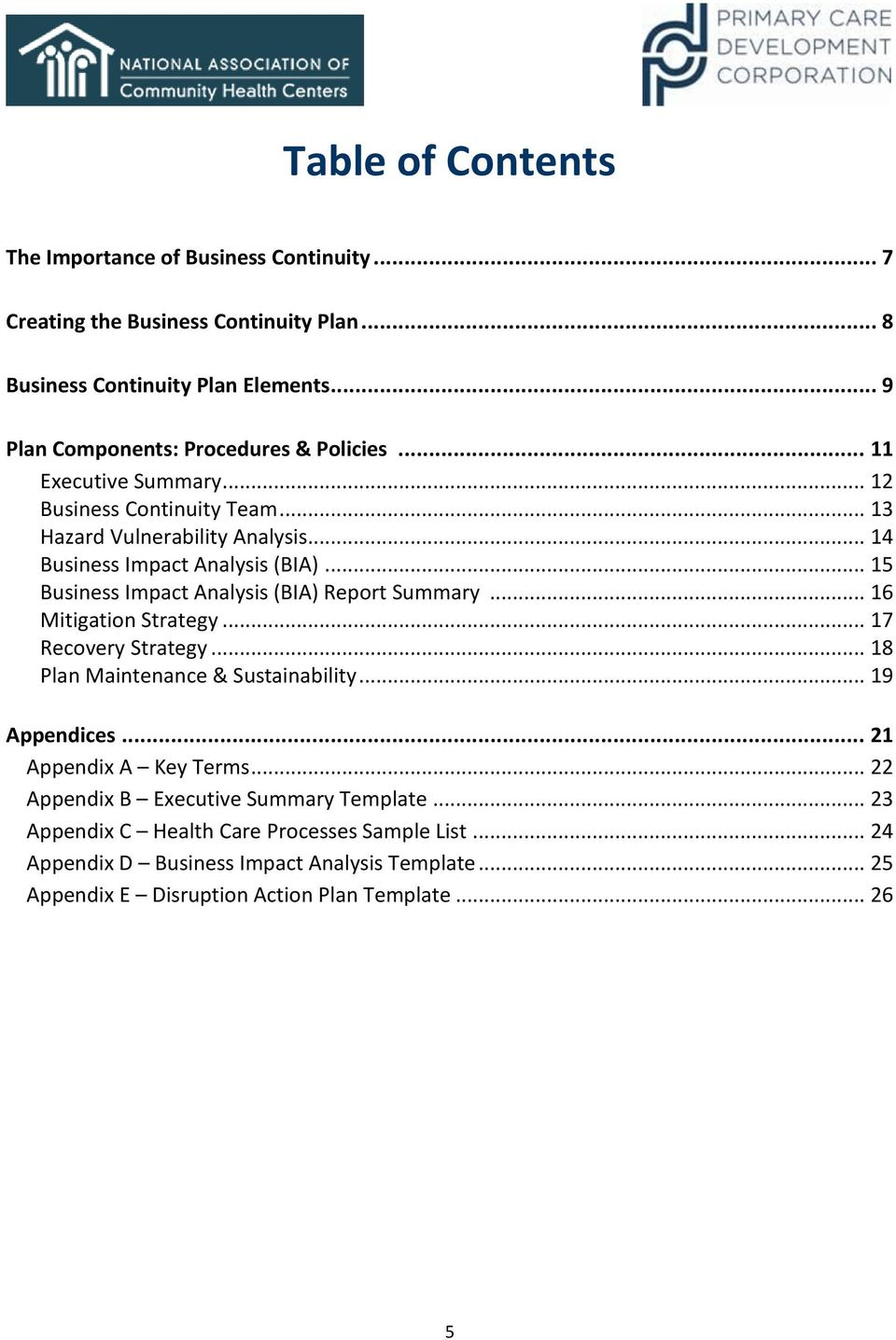 Creating a business continuity plan for your health center pdf 15 business impact analysis bia report summary 16 mitigation wajeb Choice Image